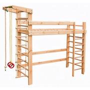 Спортивная кровать чердак из массива дерева (кровать+спортивный уголок