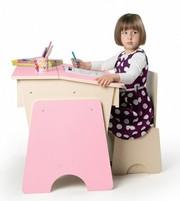 Детская парта регулируемая со стульчиком Соня розовая